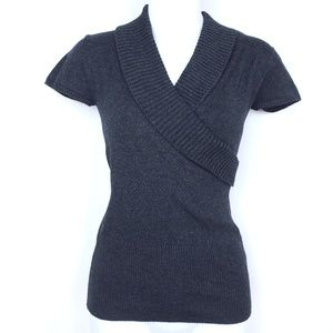 Front Wrap Short Sleeve Sweater Top